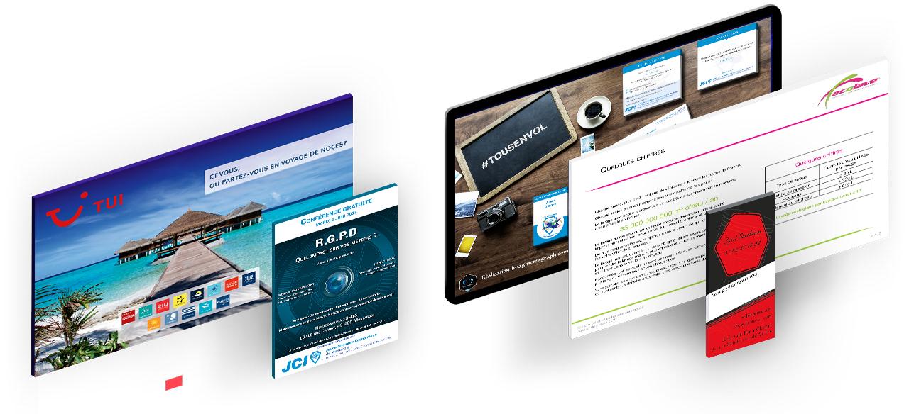 Visuels de création graphiques, identité visuelle, logo, affiches, objets publicitaires