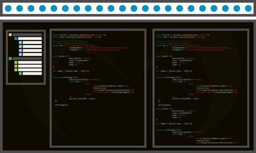Développeur Web, illustration représentant un logiciel de programmation et des lignes de code ReactJs - Montargis