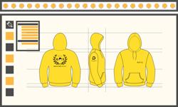 Textiles publicitaires brodés, ici des sweats jaunes brodés pour une section GIS de l'école Polytechnique Lille