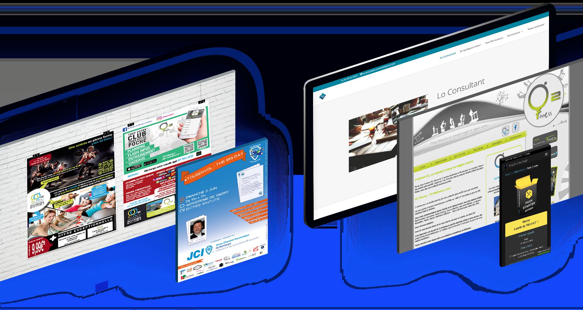 Présentation de quelques créations de site internet, affiches, flyers, campagne de publicité